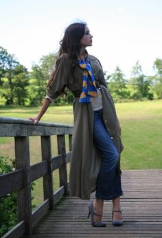 Rosalind J - Charlotte Taylor Silk Scarf, Tommy Hilfiger Jeans (Charity Shop), Laura Ashley Silk Shirt Dress (Charity Shop), New Look Grey Shoes (New Look), Vintage Belt - Silk and denim