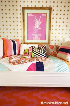 Love the pale pink, navy, orange, pale blue combo!