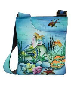 Another great find on #zulily! Anuschka Handbags Mermaid Hand-Painted Leather Slim Crossbody Bag by Anuschka Handbags #zulilyfinds