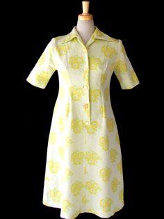 ヨーロッパ古着 ロンドン買い付け 淡いライムグリーン X レモン・黄緑 花柄 レトロ ワンピース 15OM02