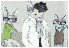 3 cool cats A4 print by lukaluka on Etsy, $15.00
