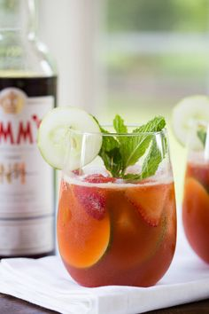 Strawberry Pimm's Cup Cocktail (via Brown Eyed Baker)