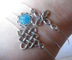 Stacking Bracelet, Stacking Bangles, Cross Bangle, Celtic Knot Bangle, Stained Glass Bangle, Set of 3 Bangle, Druzy Bangle, Blue Bracelet