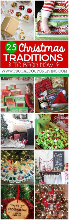 25 Christmas Traditions to start right now and pass down for years to come. I love the daily wrapped Christmas books idea. Ideas on Frugal Coupon Living as well has homemade advent calendars and Elf on the Shelf Ideas. (Christmas Ideas For Gifts) Noel Christmas, Christmas Books, Christmas Wrapping, Winter Christmas, Christmas Wreaths, Christmas Crafts, Handprints Christmas, Christmas Ideas For Kids, Christmas Scripture