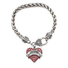 Marines Sister Pave Heart Bracelet, I gotta get me one!