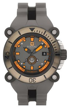 Zodiac Round Diver Watch with Rubber Strap