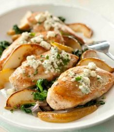Baked Chicken w/ Spinach Pears and Blue Cheese .. Recipe Here