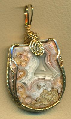 Crazy Lace Agate Brass Wire Wrap Pendant