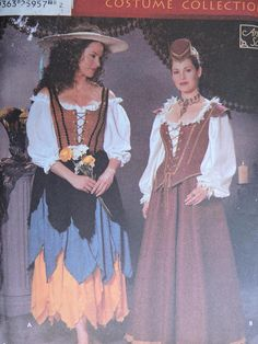 Fabulous Renaissance Costume designed by Andrea Schewe and perfect for stage plays! Simplicity 5922 uncut, factory folded pattern will fit sizes Includes instructions and pattern to sew the shown Renaissance costume of blouse; Halloween Patterns, Costume Patterns, Cool Patterns, Stitch Patterns, Fashion Patterns, Renaissance Costume, Stage Play, Dress Hats, Clothing Styles