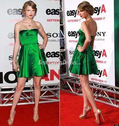 Taylor Swift Strapless Green Satin Short Red Carpet Dress Celebrity Style Red Carpet #taylor #swift