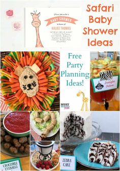 Safari baby shower ideas! Free party planning ideas with safari food, safari games and safari baby shower invitations! Great ideas and easy too! Safari Decorations, Baby Shower Decorations For Boys, Baby Shower Centerpieces, Baby Shower Themes, Baby Boy Shower, Shower Ideas, Baby Shower Parties, Safari Food, Safari Party Foods