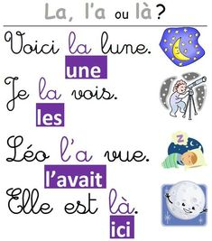 A poster for homophones la, a and there, Education French Class, French Teacher, French Lessons, Teaching French, Spanish Class, How To Speak French, Learn French, Les Homophones, French Grammar