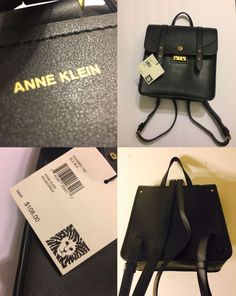 🎁$108 NWT Anne Klein Vegan Leather Lion Logo Rare Travel 3 PkTs Blck Backpack | eBay