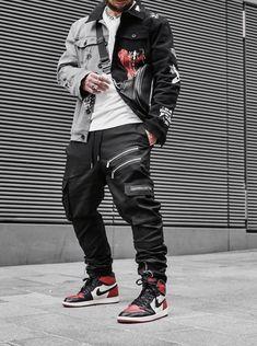 Black Men Street Fashion, Japanese Street Fashion, Mens Grunge Fashion, Male Urban Fashion, Grunge Men, Asian Men Fashion, Mens Fashion, Edgy Outfits, Casual Summer Outfits