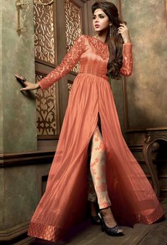 Peach Designer Georgette Salwar Kameez 35571