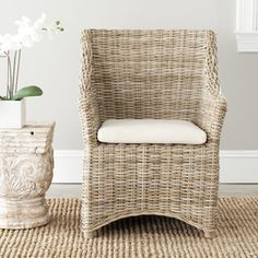 Safavieh St Thomas Indoor Wicker Washed-out Brown Wing Back Arm Chair | Overstock.com Shopping - The Best Deals on Dining Chairs