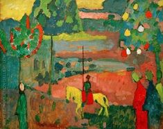 Lancer in Landscape 1908 Wassily Kandinsky oil on board on panel 63 x 81 cm. The Merzbacher Collection, Switzerland. Art Kandinsky, Wassily Kandinsky Paintings, Famous Art Paintings, Post Impressionism, Oil Painting Reproductions, Art Abstrait, Art Moderne, Russian Art, Matisse