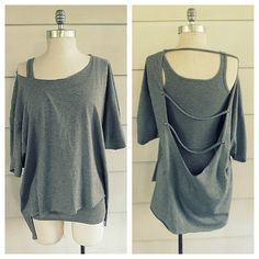 DIY Easy No Sew Backless Studded Straps Tee Shirt Restyle