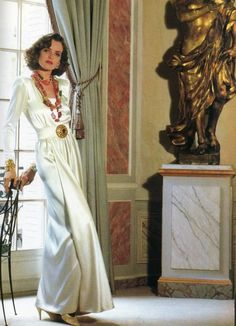 1988 - Yves Saint Laurent Couture  satin draped gow Photo from Architectural Digest
