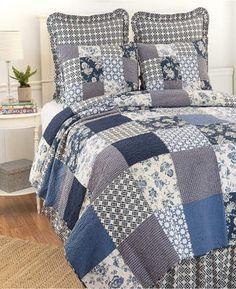C & F Enterprises Inc Bonnie King 3 Piece Quilt Set Bedding. Gorgeous blue bedding set for a room needing interest and pattern. #beddingsets #bedding #funkthishouse #afflnk
