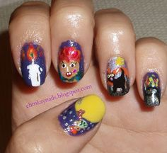 Flashback from 2011: Hocus Pocus Nail Art   http://ehmkaynails.blogspot.com/2012/10/flashback-hocus-pocus-nails.html