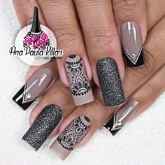 Unhas decoradas com rendas (ana paula villar) длинные ногти unhas, unhas de Nails Only, Love Nails, Pretty Nails, Fun Nails, Natural Color Nails, Gothic Nails, Short Square Nails, Perfect Nails, Nail Trends