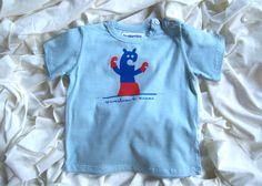 T-shirt azzurra Spaventiamo la mamma in cotone biologico certificato ICEA