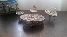 Vintage silver miniature filigree table 3 chairs by DESIGNSbyTERIV