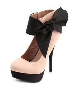 Satin Ankle-Bow Sueded Pump: Charlotte Russe from Charlotte Russe. Saved to Shoes. Dream Shoes, Crazy Shoes, Cute Shoes, Me Too Shoes, All About Shoes, Beautiful Shoes, Shoe Boots, High Heels, Stilettos