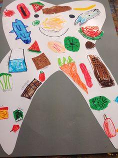 De sunde ting iflg. Madpyramiden og det det er godt for tænderne. Struktureret temaarbejde om sundhed og hygiejne.