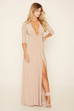 A stretch-knit maxi dress with an asymmetrical hem, sleeves, and a plunging V-neckline. Beige Maxi Dresses, Dresses Dresses, Mini Dresses, Party Dresses, Look Fashion, Fashion Outfits, Fashion Styles, Fashion Trends, Dress Skirt