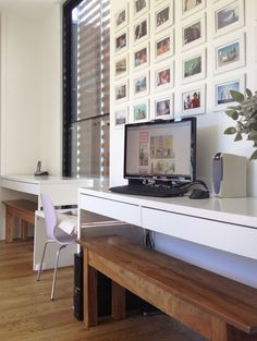 Build House Home: where Miss J and I work - home office