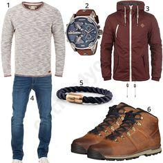 Herren-Outfit mit Diesel Uhr und Timberland Boots (m0644)