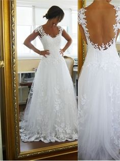 2014 White A Line Sweetheart Capped Strap Backless Lace Tulle Wedding Dresses Bridal Gowns