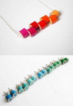 jewelry made from colored pencils - HuiYi Tan Schmuck aus Buntstiften - HuiYi Tan Diy Resin Crafts, Jewelry Crafts, Jewelry Art, Fine Jewelry, Gold Jewelry, Upcycled Crafts, Fashion Jewelry, Making Jewelry For Beginners, Diy Jewelry Making
