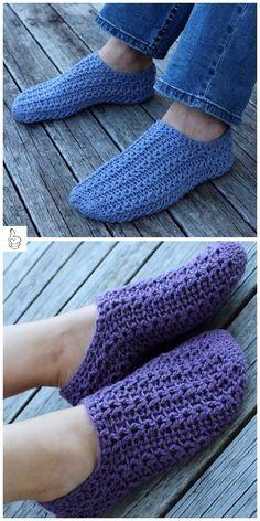 Crochet Women Slippers Shoe Patterns -Crochet Simple Cable Slippers
