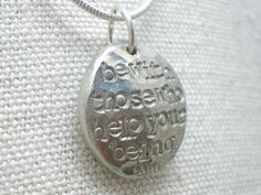 """Be with those who help your being"" quote necklace in pewter by Alloy Jewelry www.shopalloyjewelry.com"