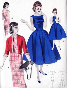 """1950s Junior Misses' One-Piece Dress and Jacket Vintage Sewing Pattern, Slim or Full Skirt, Square Neckline, Butterick 7648 bust 31"""" uncut"""