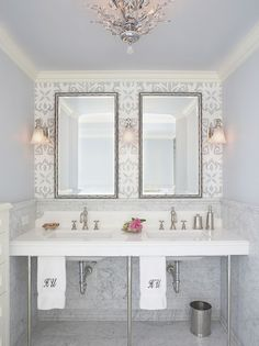 Absolutely love this #glam #bathroom #design, complete with #flowers and monogrammed hand towels