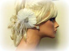 Wedding Bridal Hair Facsinator Ivory or White by kathyjohnson3, $36.00