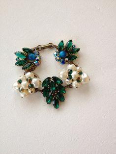 Vintage earring bracelet, upcycled bracelet, reclaimed vintage earrings, emerald green rhinestone, pearl, eco friendly, wedding, charm brace