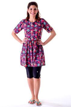 Tunic Short Sleeve Swim Dress | HydroChic
