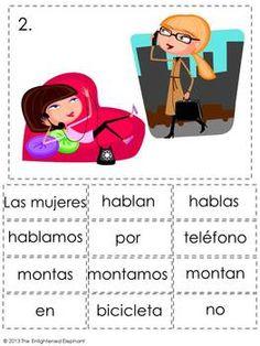 Present Tense -AR Verbs Spanish Sentence Writing Station A