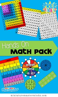 Hands On Math Pack Addition, Subtraction, Multiplication, Division, Counting, Patterns, Time and More! Subtraction Activities, Math Activities For Kids, Math For Kids, Fun Math, Math Games, Math Manipulatives, Addition Flashcards, File Folder Activities, Folder Games