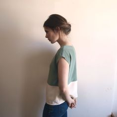 Mint and Creme Color Block tee