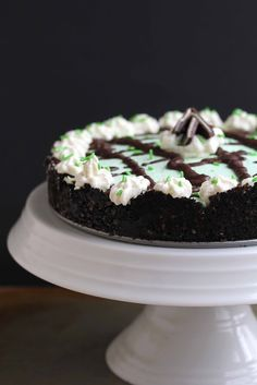 Baileys Mint Chocolate Cream Pie!  Perfect for St. Patrick's Day or any special occasion| Grandbaby Cakes