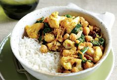Healthy Recipes 4 us: Curry Cauliflower with Chickpeas Veggie Recipes, Indian Food Recipes, Real Food Recipes, Vegetarian Recipes, Healthy Recipes, Ethnic Recipes, Crock Pot Curry, Confort Food, Cauliflower Curry