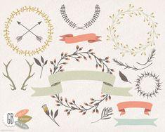 Wreaths laurels ribbons clip art vector folk by GrafikBoutique, $5.50