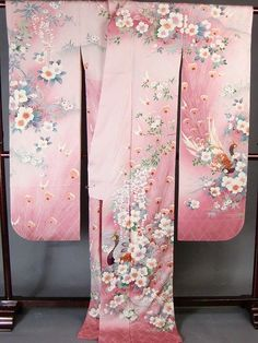 Japanese wedding kimono, embroidery, pink | Japanese Long-Sleeved Dress Wedding Dress, Silk