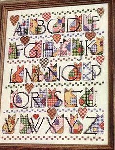 quadro cats com monograma estilo patchwork